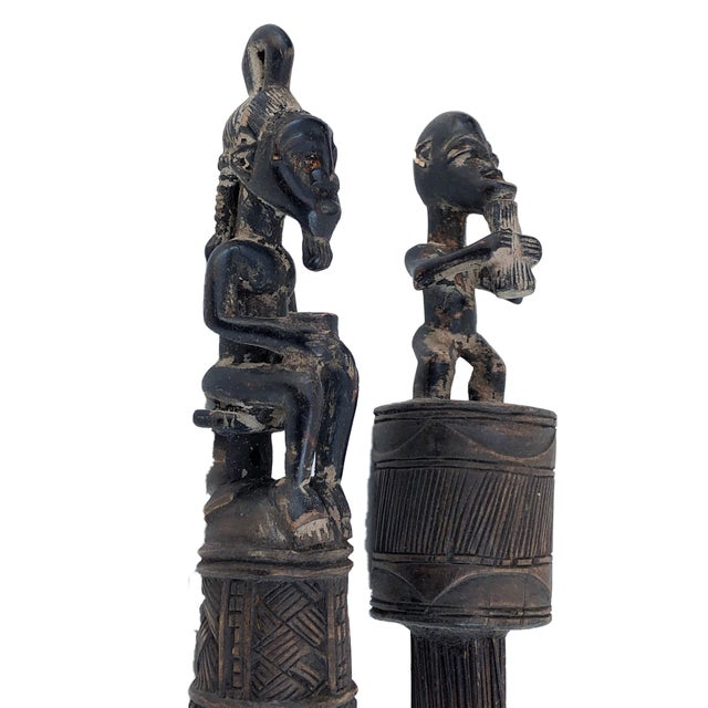 Wood African Baule Brooms with Figures - a Pair For Sale - Image 7 of 10