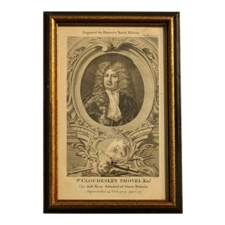 """18th Century Print """"Sir Cloudesley Shovel, the Naval History"""" by Frederic Hervey For Sale"""