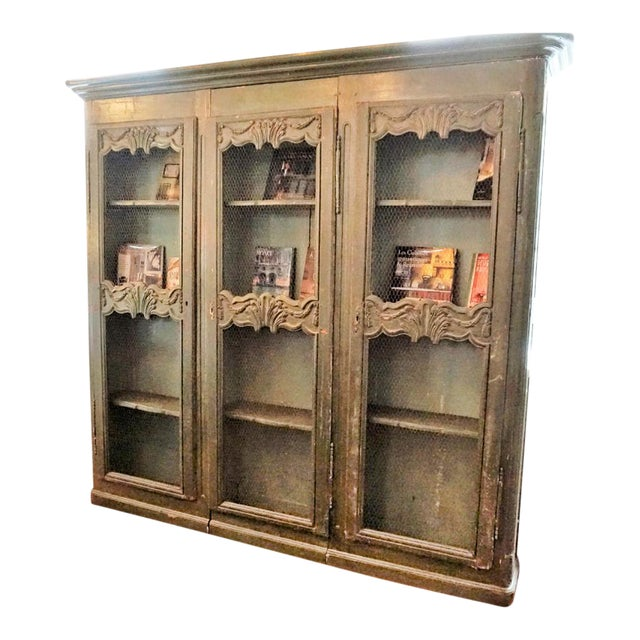 19th Century French Chicken Wire Painted Bookcase For Sale