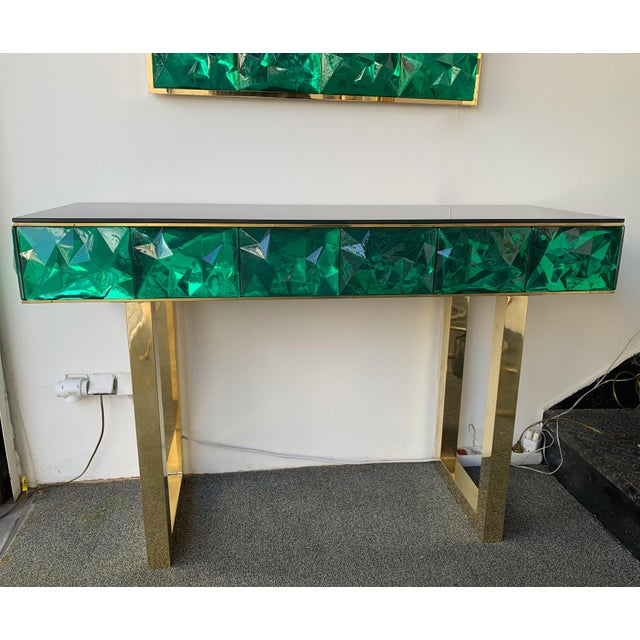 Green Contemporary Brass Mirror Console with Green Murano Glass, Italy For Sale - Image 8 of 13