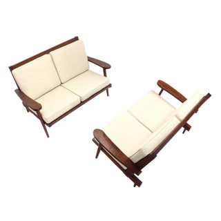 Pair of George Nakashima Style Walnut Settees with Arms New Upholstery For Sale