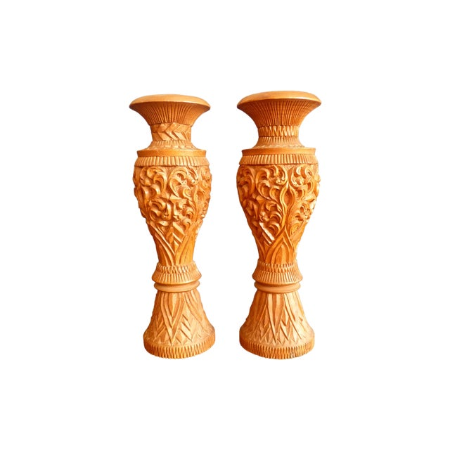 Large Carved Wood Candle Vases - a Pair For Sale