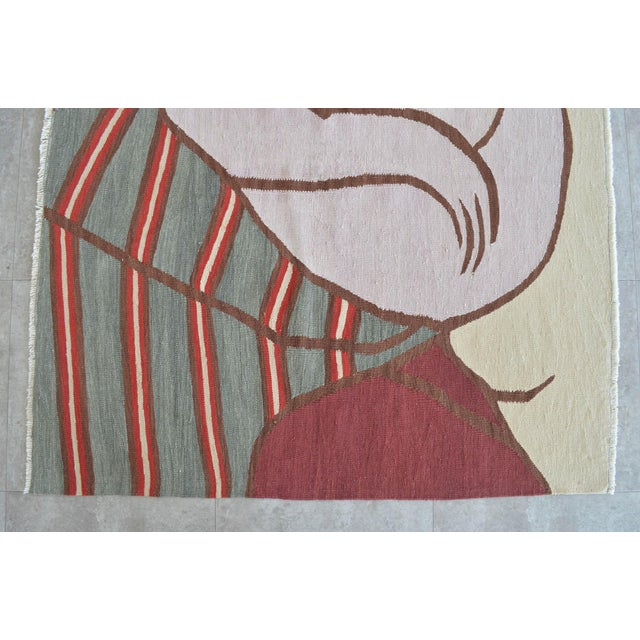 Picasso - Woman With Yellow Hair Inspired Hand Woven Area Rug Wall Rug Kilim - 4′6″ × 5′ For Sale In Raleigh - Image 6 of 11