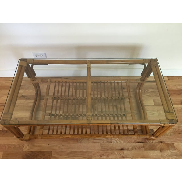 Vintage Franco Albini Style Bamboo Glass Top Table - Image 7 of 7