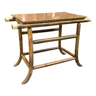 J.B.Van Sciver Dark Wood Rattan and Brass End Table For Sale