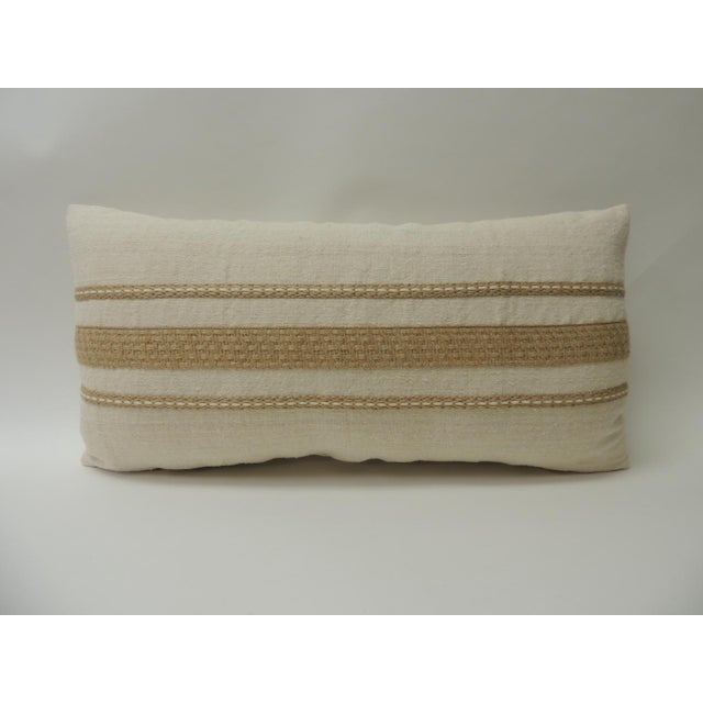 1980s Vintage Linen Bolster Decorative Pillow With Vintage Jute Trims For Sale - Image 5 of 5