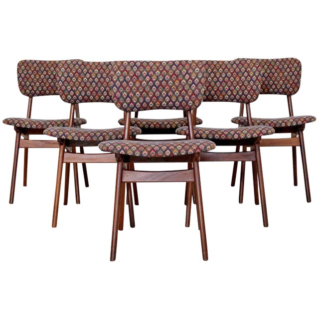 Mid-Century Modern Arne Hovmand Olsen Danish Teak Dining Chairs - Set of 6 For Sale