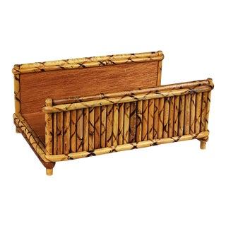 Rectangular Tortoise Burnt Bamboo Letter Sorter Napkin Holder or Guest Towel Box For Sale
