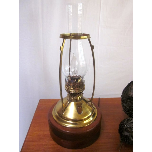 Antique Wired Brass Wood Hurricane Lamp - Image 6 of 9