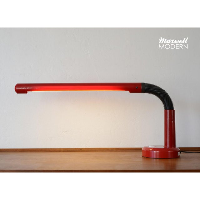 Very rare and super cool vintage minimalist red plastic gooseneck fluorescent desk lamp! It be set at many different...