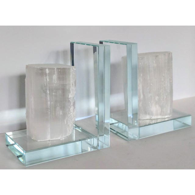 Lead Crystal & Selenite Bookends - Two (2) For Sale - Image 11 of 11