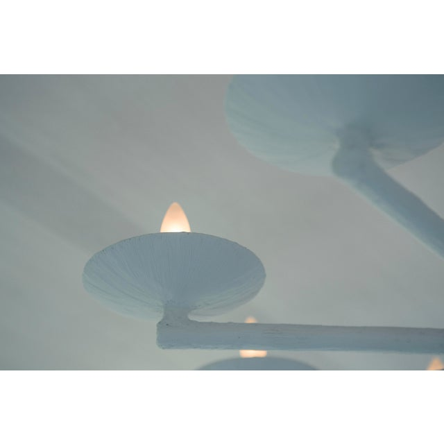 White Plaster Spoke Chandelier With White Finish For Sale - Image 8 of 11