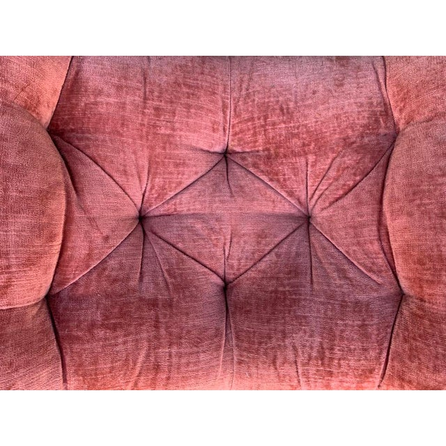 Boho Chic 1950s Upholstered Salmon Tufted Ottoman - a Pair For Sale - Image 3 of 8