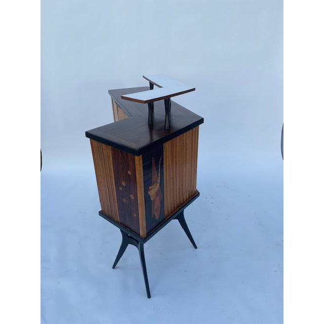 1950s Late 1950's Mid Century Inlaid Bar For Sale - Image 5 of 11