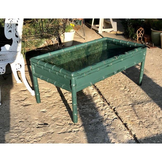 Asian Vintage Hunter Green Faux-Bamboo Coffee Table For Sale - Image 3 of 6