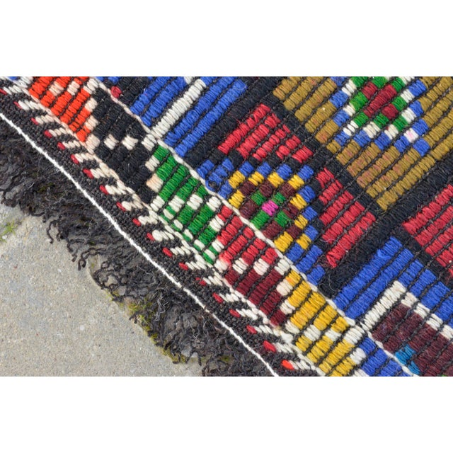 Handwoven Turkish Kilim Rug. Traditional Oushak Area Rug Braided Kilim - 6′ X 13′5″ For Sale - Image 10 of 12