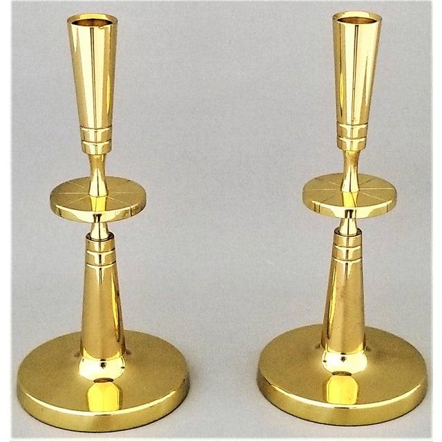 Tommi Parzinger for Dorlyn Brass Candlesticks- Mid Century Modern - a Pair For Sale - Image 9 of 12