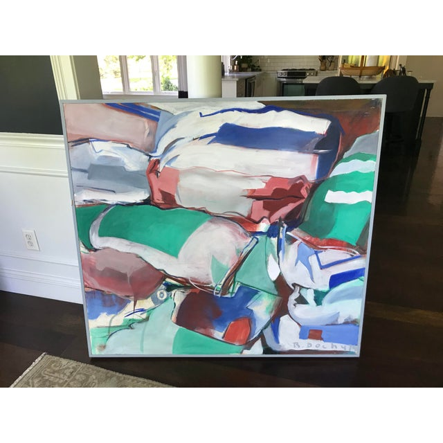 Mid Century Modern Original Abstract Oil Painting on Canvas For Sale - Image 9 of 10