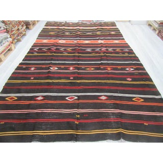 "Vintage Black Striped Large Turkish Kilim Rug - 8'4"" x 13'1"" Preview"
