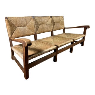 Large 1940s Continental Woven Rush 3-Seat Settee For Sale