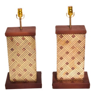 Mexican Modernism 1970s Geometric Bronze & Leather Wood Base Table Lamps For Sale