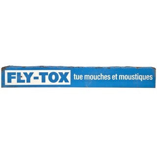 Vintage French Metal Fly-Tox Sign For Sale