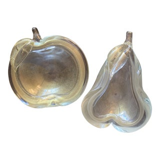 1970s Golden Murano Glass Apple and Pear Bowls - a Pair For Sale