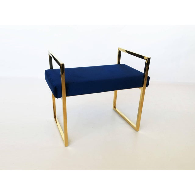 Mid-Century Modern Pair of Polished Brass Benches in the Style of Charles Hollis Jones For Sale - Image 3 of 8