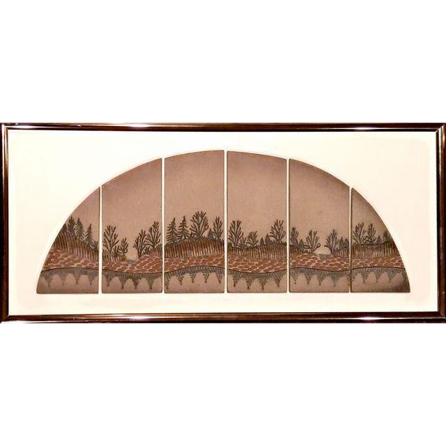 Mid-Century Signed Terra Cotta Tile Wall Art - Image 1 of 7