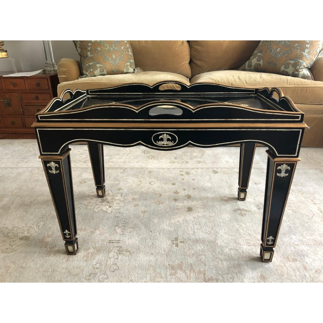 Gem of a Hollywood Regency Black Tray Coffee Table For Sale - Image 12 of 13