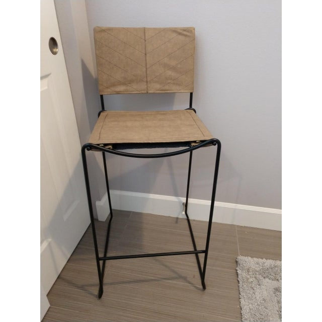 Modern Industrial Bar Stools With Vinyl - A Pair - Image 2 of 11