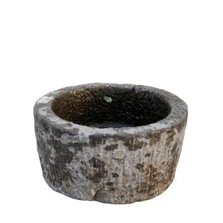 Hand Chiseled Round Stone Planter For Sale