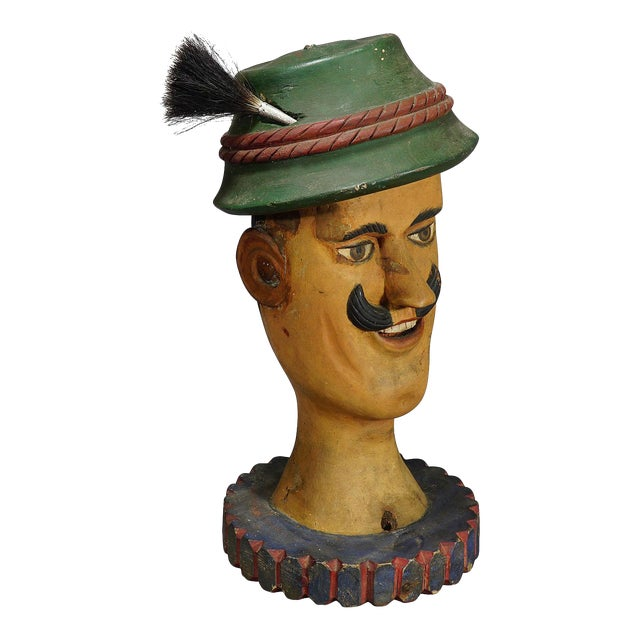 Antique Naive Woodcarving Sculpture of a Folksy Bavarian Man For Sale