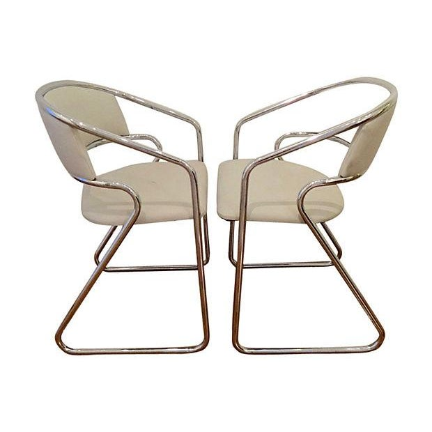 Italian Chrome Modernist Chairs - A Pair - Image 2 of 6