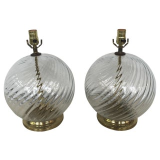 Vintage Swirl Glass Globe Modernists Lamps - Pair