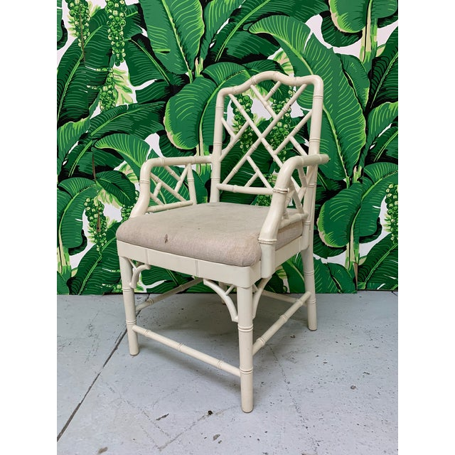 Faux Bamboo Chinese Chippendale Dining Chairs Set of 6 For Sale - Image 4 of 9
