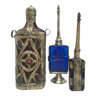 Vintage Moorish Islamic Style Decorative Bottles - Set of 3 For Sale
