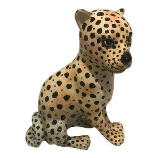 Vintage Hollywood Regency Hand Painted Ceramic Leopard / Cat Figurine