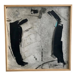 1960s Abstract Black and White Painting by Graham Harmon For Sale