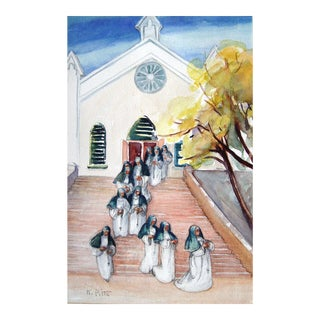 After Service Watercolor Painting For Sale