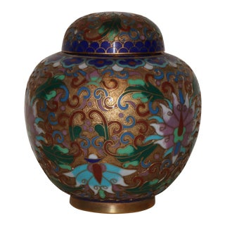 Mid 20th Century Cloisonne Ginger Jar For Sale