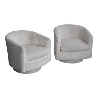 Milo Baughman Style Swivel Armchairs - A Pair