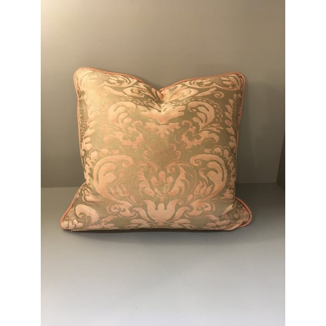 2010s Melon & Silvery Gold Fortuny Sevigne Pillow For Sale - Image 5 of 5