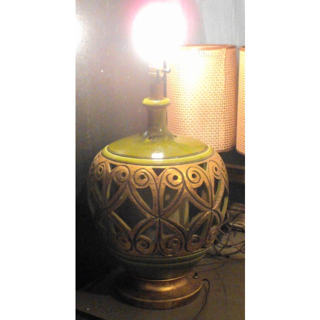"""Antique Vintage Mid Century Modern 70's Large Table Lamp. Measures """"25 x """"14 x """"14. Overall good average condition..."""