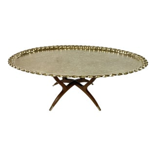Indian Brass Tray Top Coffee Table For Sale