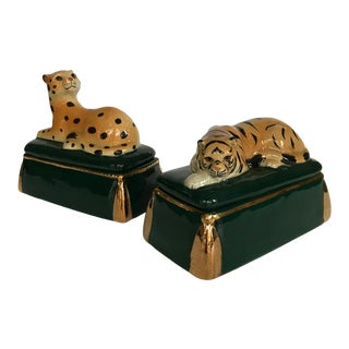 Vintage Takahashi Ceramic Tiger and Leopard Trinket Boxes - Set of 2 For Sale