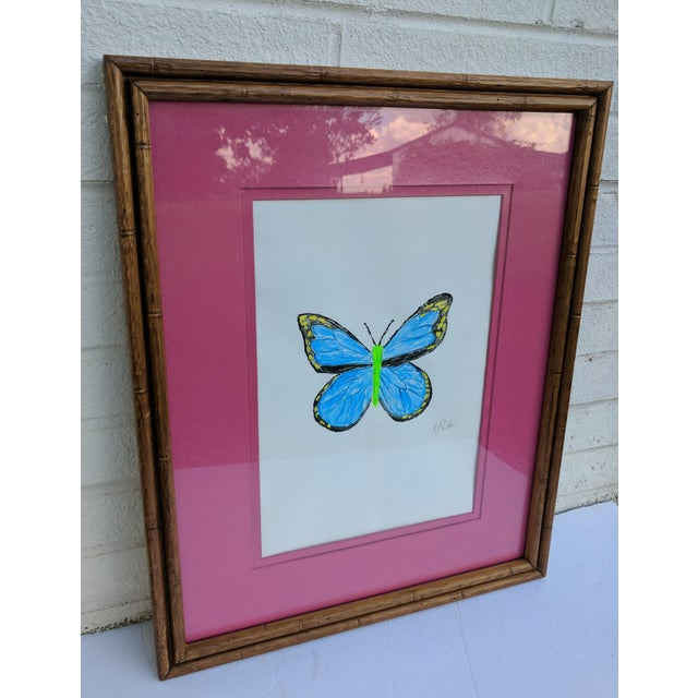 Original Acrylic Butterfly Painting Signed and Framed For Sale - Image 4 of 13