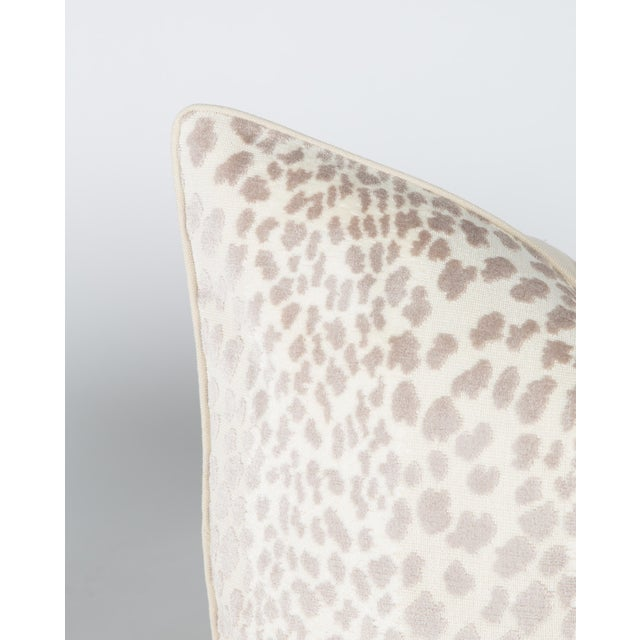 Contemporary Cream Velvet Spotted Cheetah Pillows - Pair For Sale - Image 3 of 5