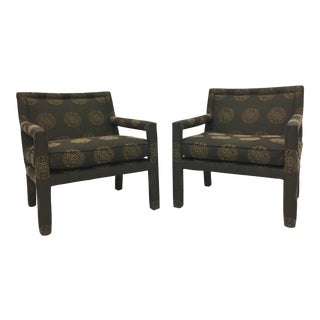 Mid-Century Modern Upholstered Club Armchairs- a Pair For Sale