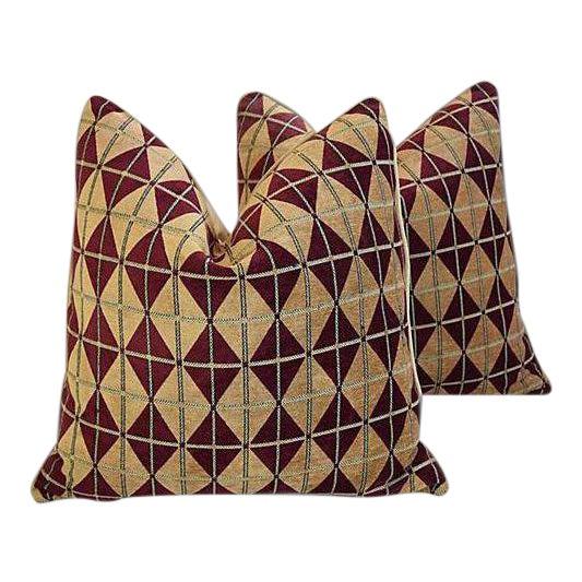 "Diamond Chenille & Velvet Feather/Down Pillows 24"" Square - Pair For Sale"